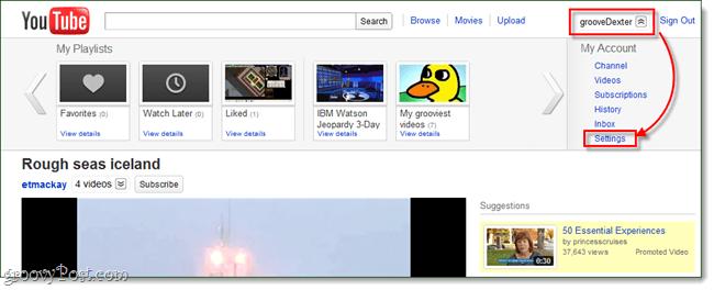 YouTube user menu settings
