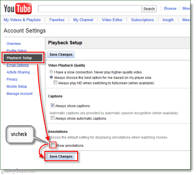 YouTube playback setup show annotations save changes