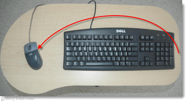 set mouse to the left of the keyboard