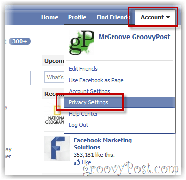 how to access facebook privacy menu settings