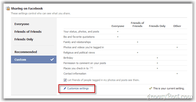 customize facebook privacy settings button