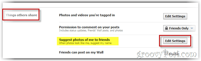 facebook - edit settings for facial tagging