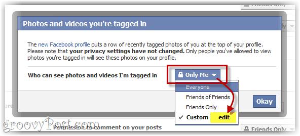 facial tagging options menu