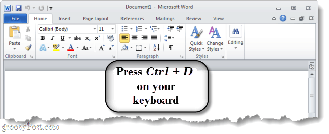 Press Ctrl D on your keyboard to open up the font options dialog