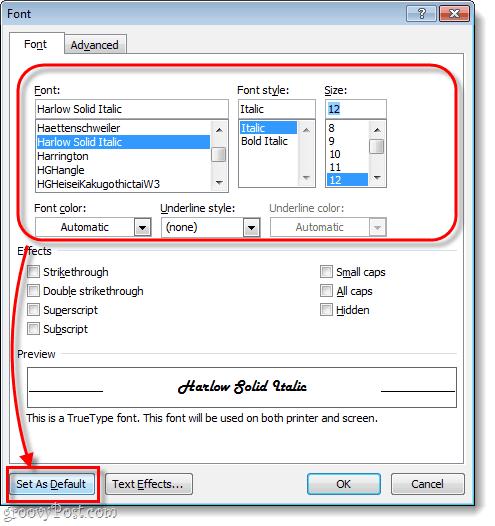 change font defaults
