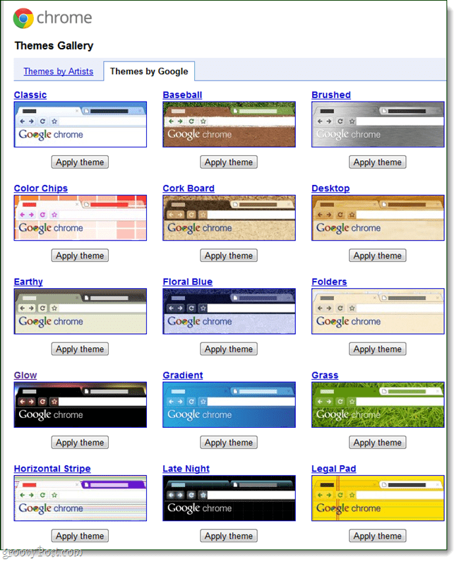 Google Chrome Google-made themes