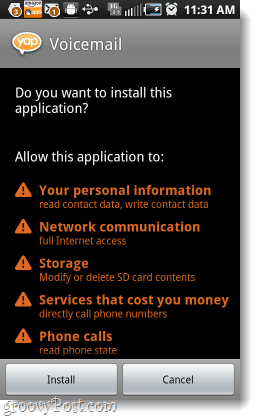 Install Yap Voicemail permissions