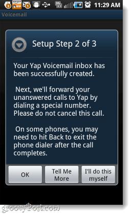 Setup Yap Voicemail step 2
