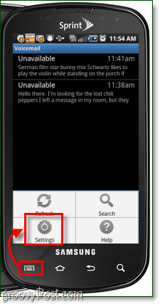 Yap voicemail settings