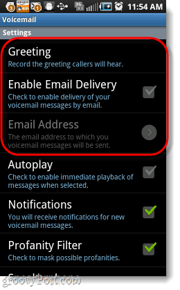 yap voicemail settings menu