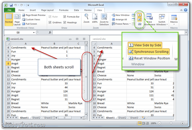 synchronized scrolling with ms office 2010 excel