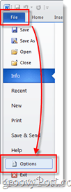 File options menu in word 2010