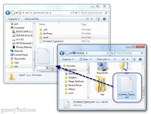 manually edit docx xml in windows 7