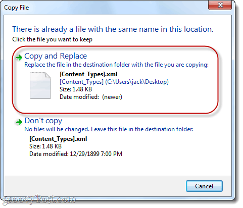 replace .xml files in windows 7