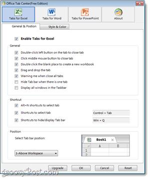 Office tabs customization