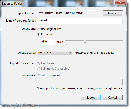 Export resized photos in picasa