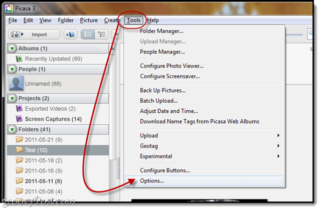 email options in picasa