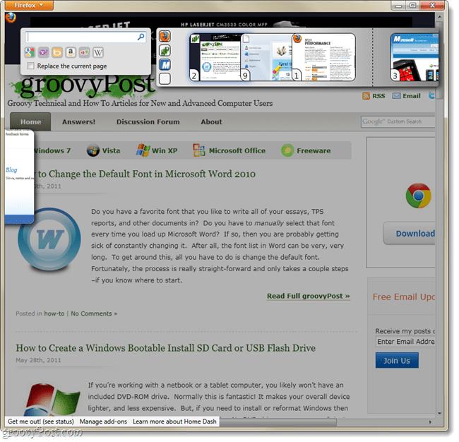 Firefox home dash menus