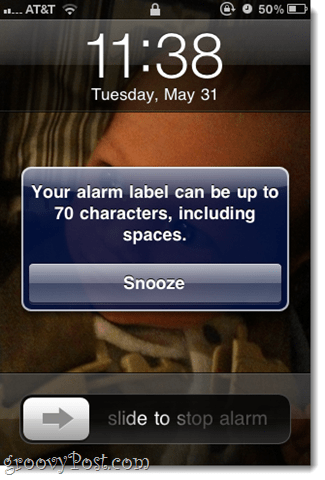 how many characters can you have in your iphone alarm label?