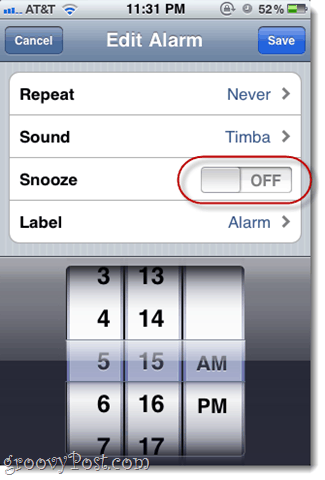 how to turn off snooze in ios