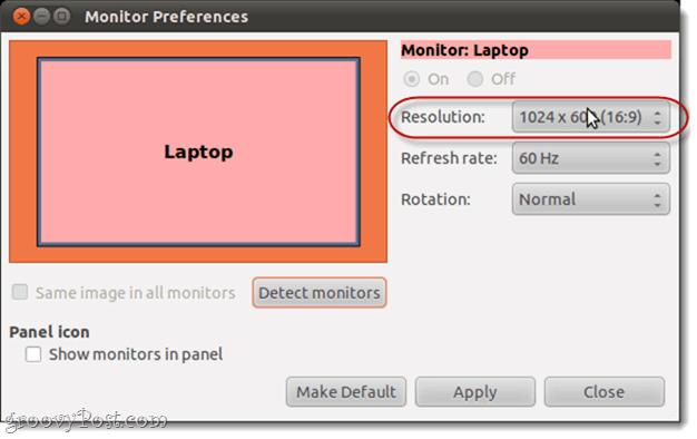 ubuntu screen resolution