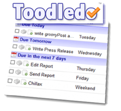 Toodledo show days of week