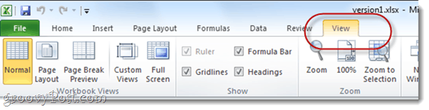 view options excel spreadsheets office 2010