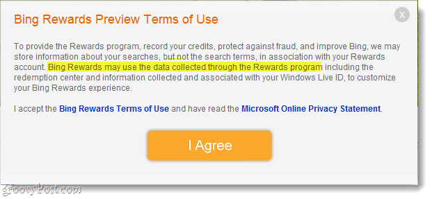 Bing Rewards terms of use and agreement