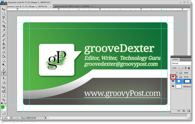 front side groovy business card made in photoshop