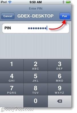pair iOS to windows 7 via pairing code