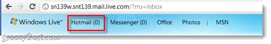hotmail tab on windows live website