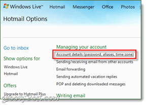 hotmail account details page