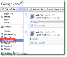 how to listen to recorded google voice calls