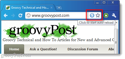 chrome auto reloader in browser button