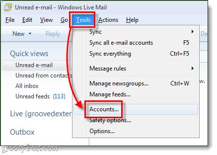 windows live mail tools accounts