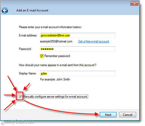 manually configure your hotmail in windows live mail