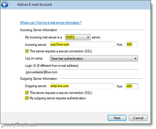 windows live mail https email account settings