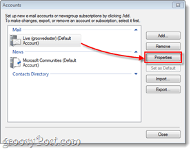 windows live mail account properties