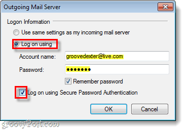 windows live mail outgoing server