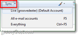 windows live mail sync button
