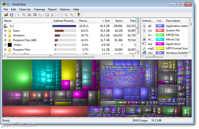 windirstat loading finished, graphical representation ready for viewing
