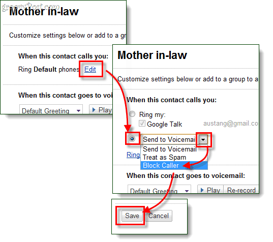 set ring options to block the caller and save