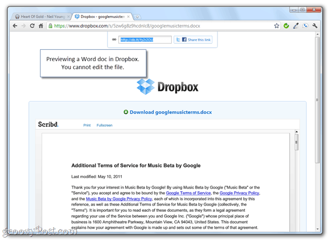 previewing dropbox folders with shared public links