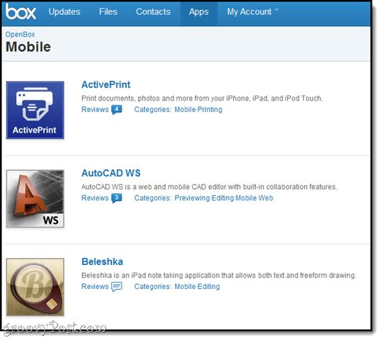 box.net mobile apps API