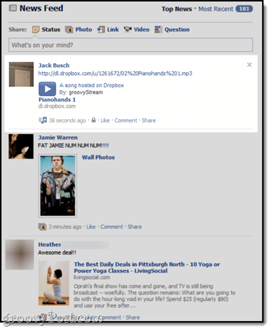 Facebook + Dropbox: Free MP3 Streaming on your Facebook Wall