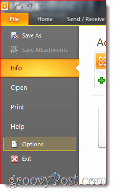 Outlook 2010 File Options Menu