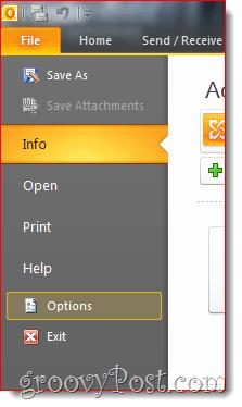 Outlook 2010 File Options Menu