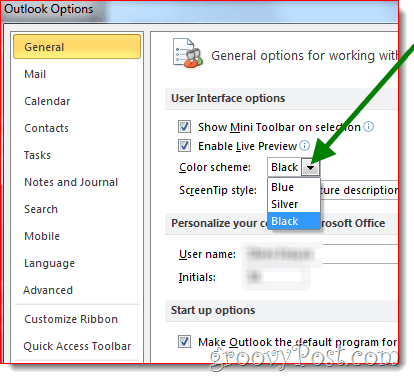 Word 2010 select the color scheme