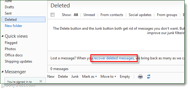recover deleted hotmail messages