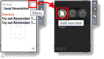 ad da new task to remember the milk from a desktop gadget